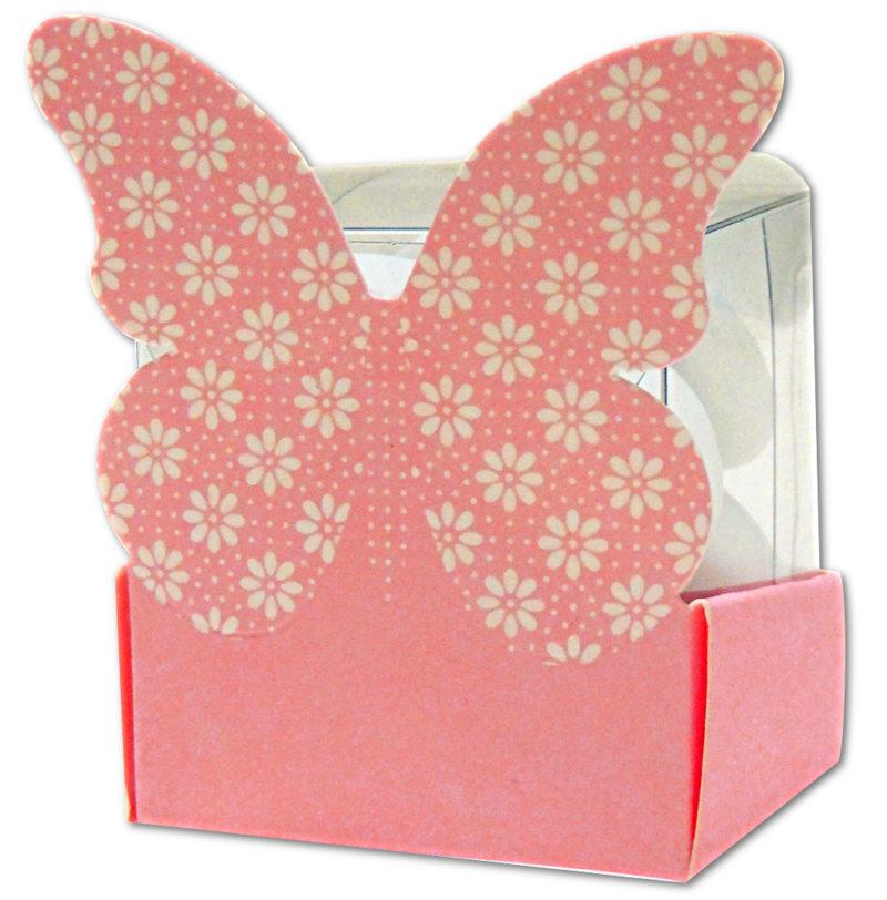 Boîte papillon rose
