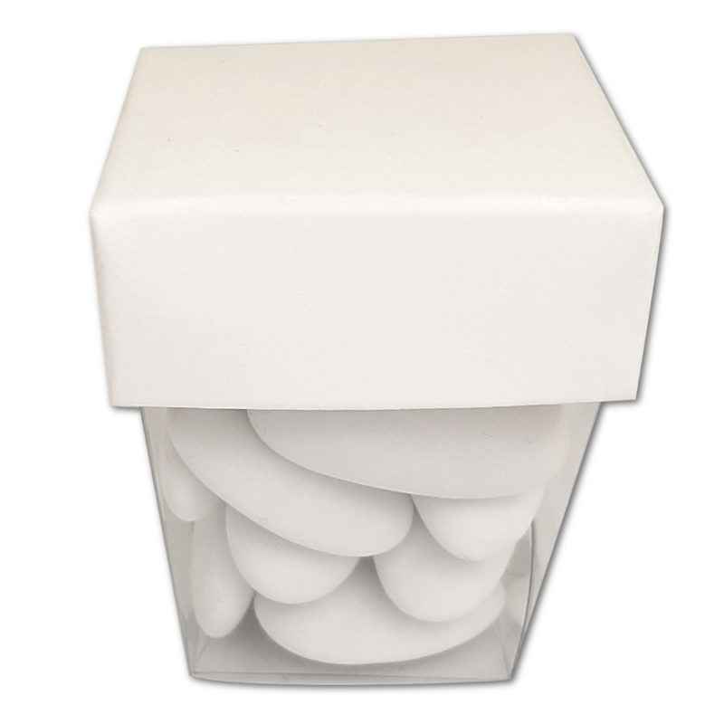 Boîte fond transparent et dessus blanc