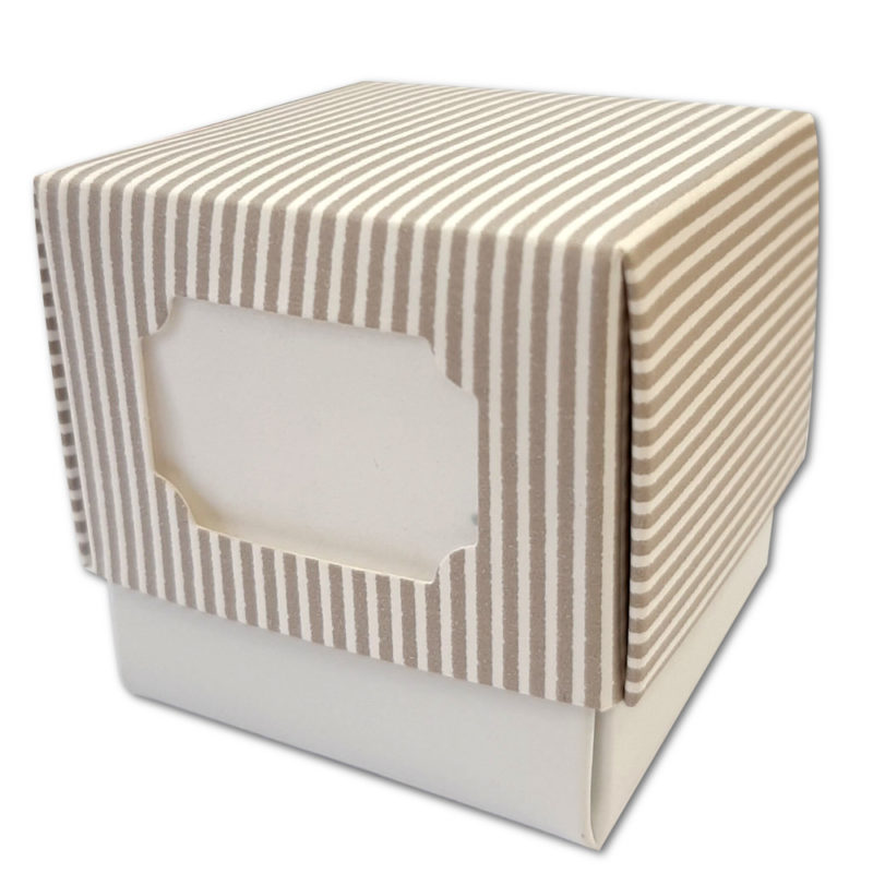 Cube taupe rayure